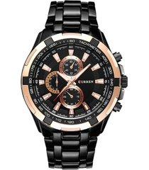reloj cuarzo analogico militar curren 8023 negro dorado