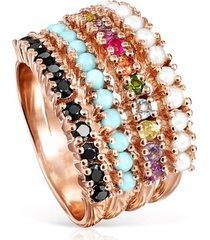 anillo tous straight de plata  vermeil con piedras preciosas 912725511