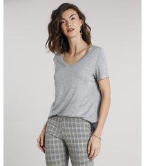 blusa feminina ampla básica manga curta decote v cinza mescla