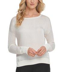 dkny satin-front sweater