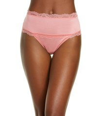 women's calvin klein scallop lace trim high waist thong, size x-small - pink
