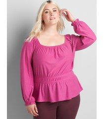 lane bryant women's square-neck knit blouse with elastic waist 38/40 purple orchid