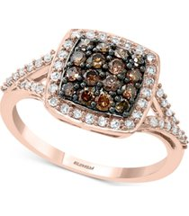 effy diamond square halo cluster ring (3/4 ct. t.w.) ring in 14k rose gold