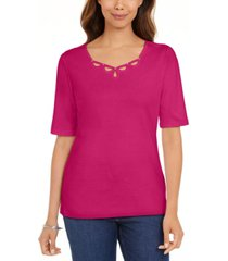 karen scott petite cotton elbow-sleeve keyhole-cutout top, created for macy's