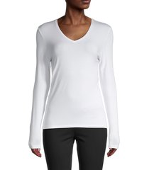 saks fifth avenue women's iconic v-neck long sleeve top - white - size m