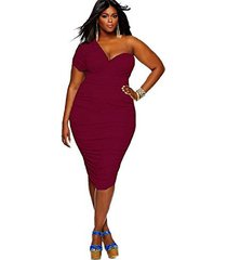 plus size one-shoulder ruched bodycon dress (wine red) (asian 3xl [us l(18),eu(5