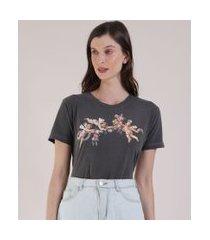 t-shirt feminina mindset anjos manga curta decote redondo chumbo