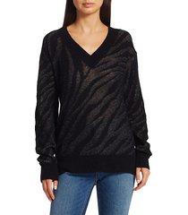 rag & bone women's germain zerba v-neck sweater - black - size xs