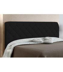 cabeceira box casal paris 140cm preto suede amassado - js móveis