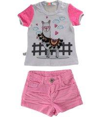 conjunto t-shirt c/ silk de lhama e short de sarja - branco - feminino - dafiti