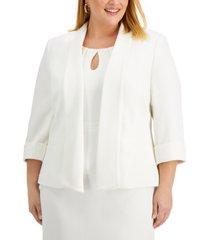 kasper plus size textured pique shawl-collar jacket