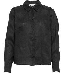 linneda shirt overhemd met lange mouwen zwart just female