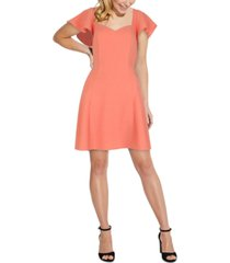 adrianna papell flutter-sleeve fit & flare dress