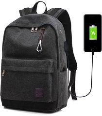 mochila con puerto externo de usb y audífonos unisex-negro