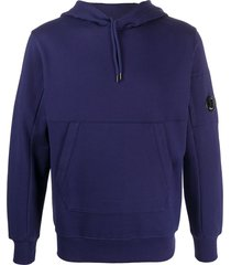 c.p. company logo detail kangaroo pocket hoodie - blue