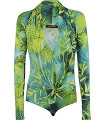 versace tropical print bodysuit