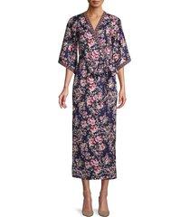 alexia admor women's floral-print kimono wrap maxi dress - navy - size 4