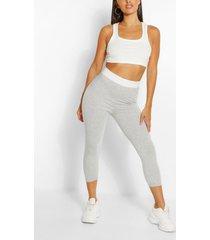 contrast waistband 3/4 basic jersey leggings, grey marl