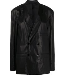 lemaire double breasted coated jacket - black