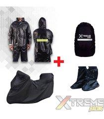 impermeable + pijama para moto con maletero + forro maleta + zapatones