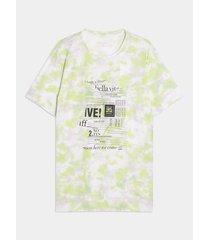 camiseta manga corta tie dye neon screen rayado - handmade