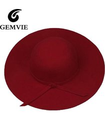 100% pure cashmere wool felt wide brim fedora floppy hat - 5 colors