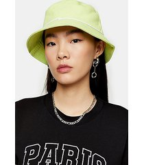 piped bucket hat in lime green - lime
