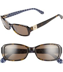 kate spade new york paxton2 53mm polarized sunglasses in havana/blue at nordstrom