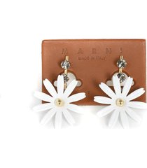 flora screw earrings in enamelled gold-tone metal and strass