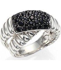 bedeg black sapphire & sterling silver crossover ring