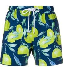 boss hugo boss lemon-print swim shorts - blue