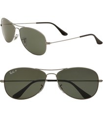 ray-ban 'new classic aviator' 59mm polarized sunglasses in gunmetal at nordstrom