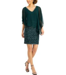 j kara asymmetrical-overlay embellished dress
