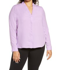 plus size women's halogen v-neck top, size 2x - purple