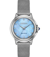citizen eco-drive women's ceci diamond-accent stainless steel mesh bracelet watch 32mm