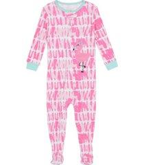 baby girls tie dye flamingo footie pajamas