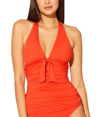 bleu by rod beattie ruched halter tankini top women's swimsuit