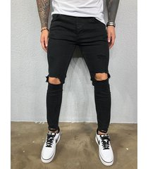 hombres frosted old washed fashion ripped jeans