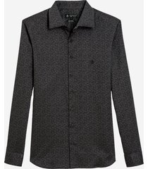 camisa dudalina manga longa jacquard fio tinto masculina (preto, 7)