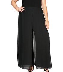 plus size women's alex evenings wide leg chiffon pants