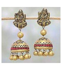ceramic dangle earrings, 'divine lakshmi' (india)