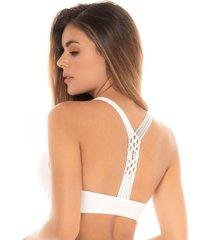 chamela 26020 - brasier megabra con aplique en macramé - ropa interior femenina-blanco