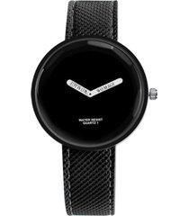 reloj mujer cuarzo analogico pulso cuero pu 1026 negro