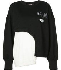 haculla witch hybrid asymmetric sweatshirt - black
