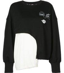haculla witch hybrid asymmetric sweatshirt - black
