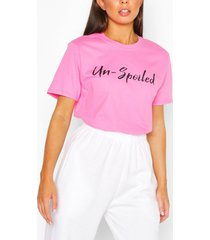 un-spoiled slogan top, pink