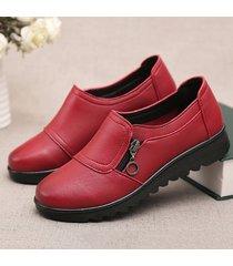 casual scarpe con zip decorazione in colore a tinta unita