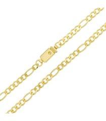 corrente modelo italiana fígaro tudo jóias elo 5x1 folheada a ouro 18k dourada