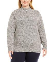 karen scott plus size marled cotton 1/4-zip mock-neck sweater, created for macy's