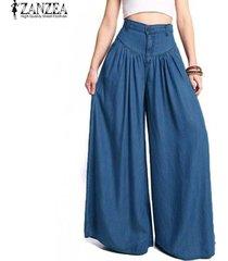 zanzea pantalón tiro alto denim - azul